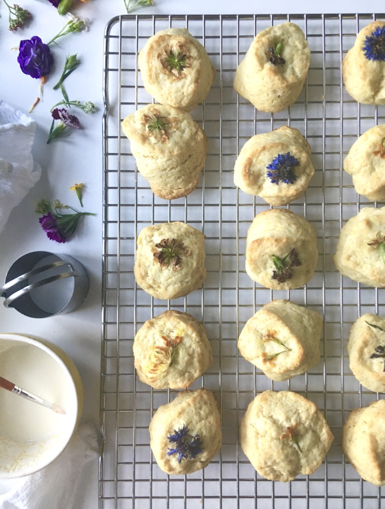 Lemon Cream Scones with Edible Flowers