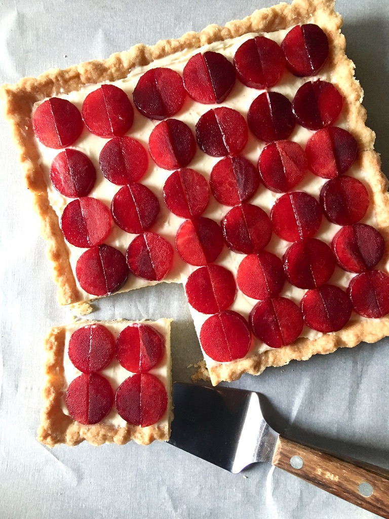 Plum Tart with Honey Ginger Mascarpone Filling