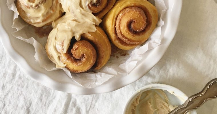"""Carrot Cake"" Cinnamon Rolls with Maple-Tahini Cream Cheese Icing"