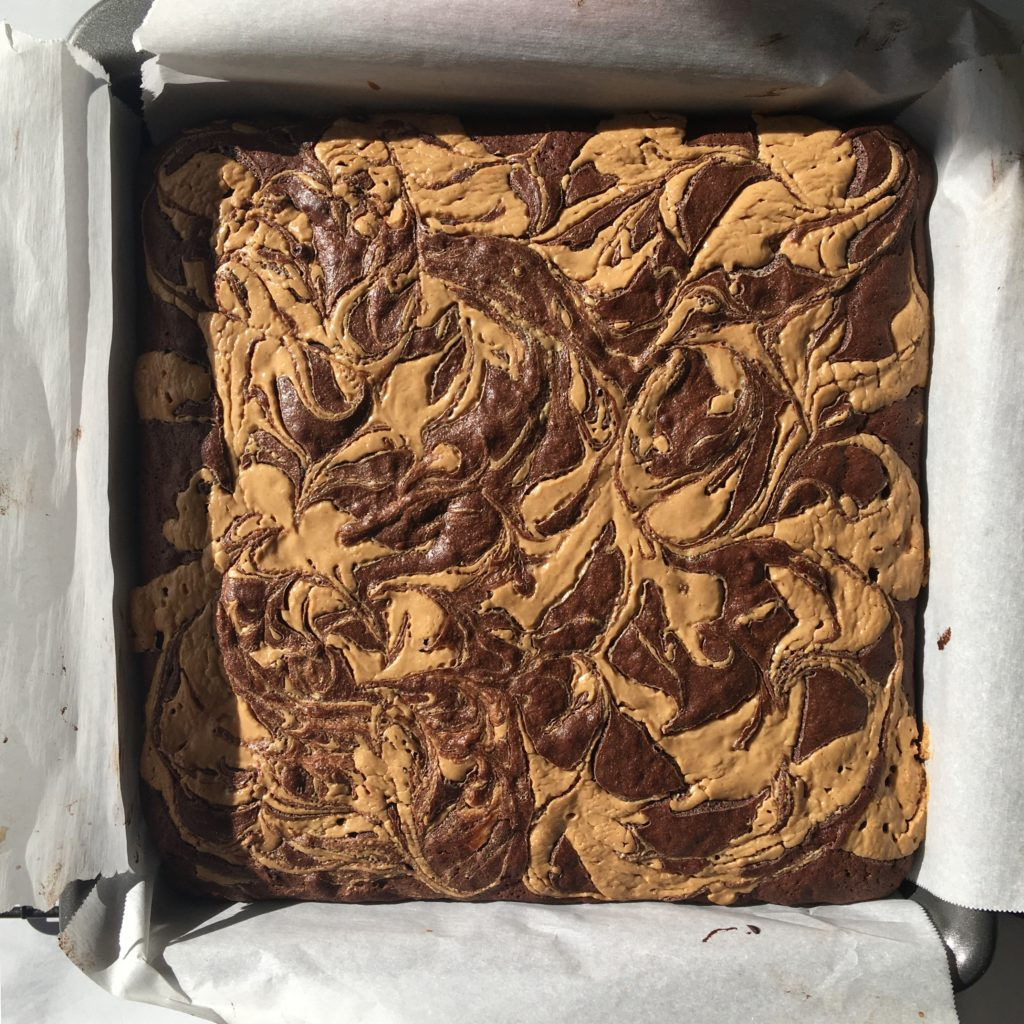 chocolate banana peanut butter brownies
