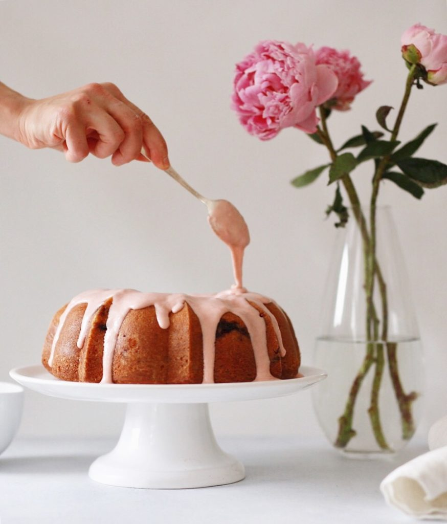 strawberry rhubarb buttermilk bundt with rhubarb cream cheese glaze