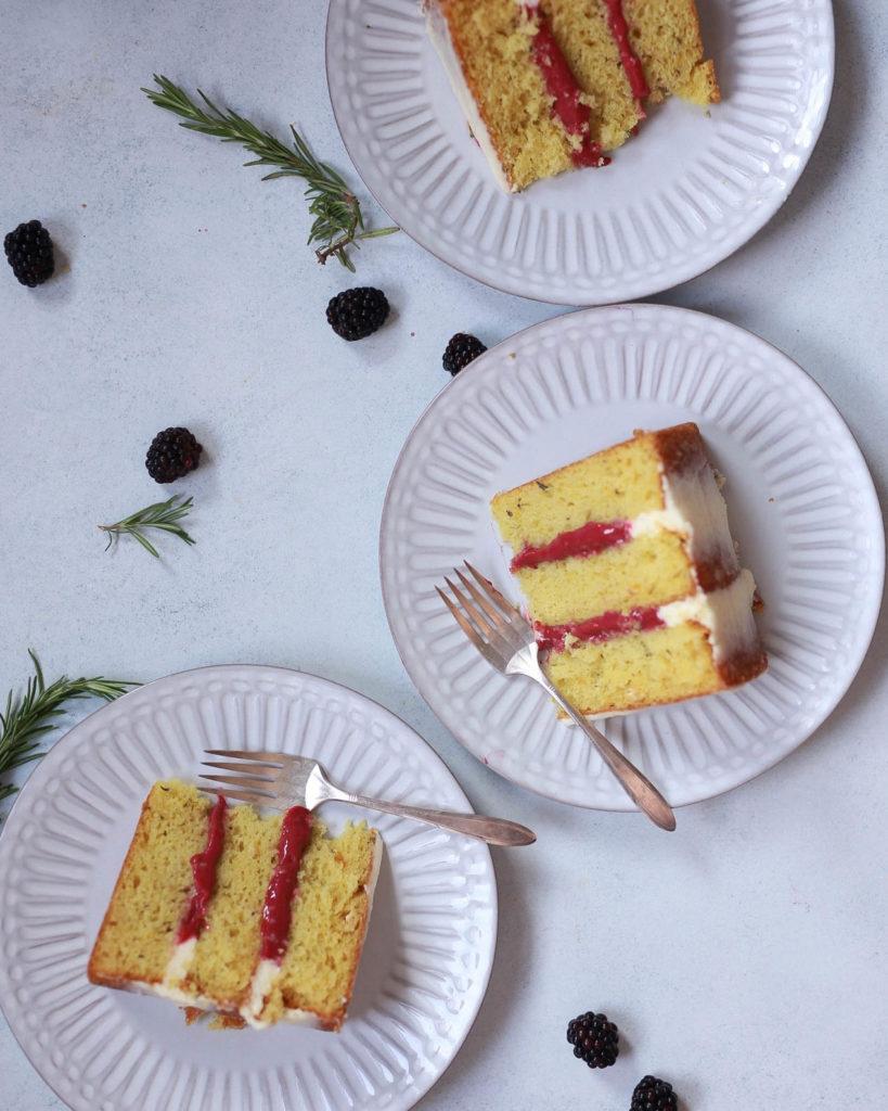 Lemon rosemary olive oil cake with blackberry curd and mascarpone buttercream