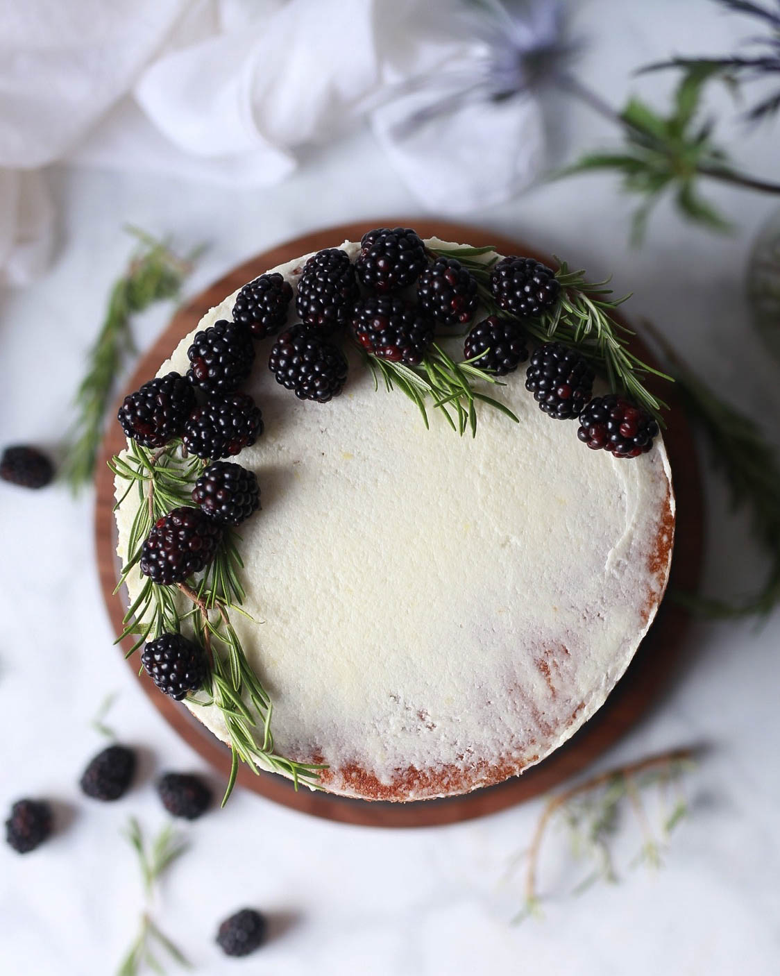 Lemon Rosemary Olive Oil Cake with Blackberry Curd and Mascarpone Buttercream