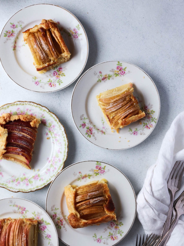 rustic apple ombre tart with honey frangipane