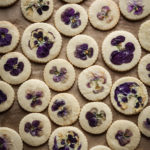 orange blossom shortbread cookies with edible flowers
