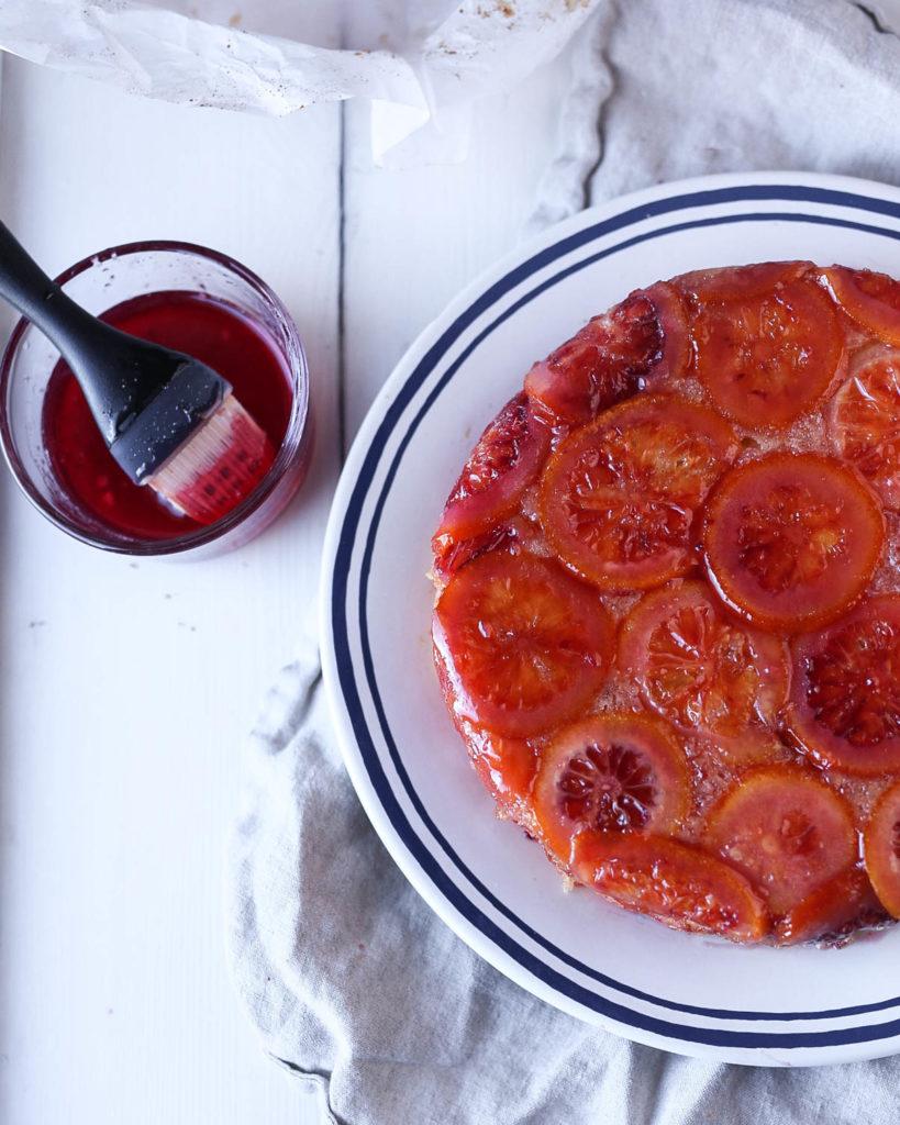 blood orange upside down cake glazed