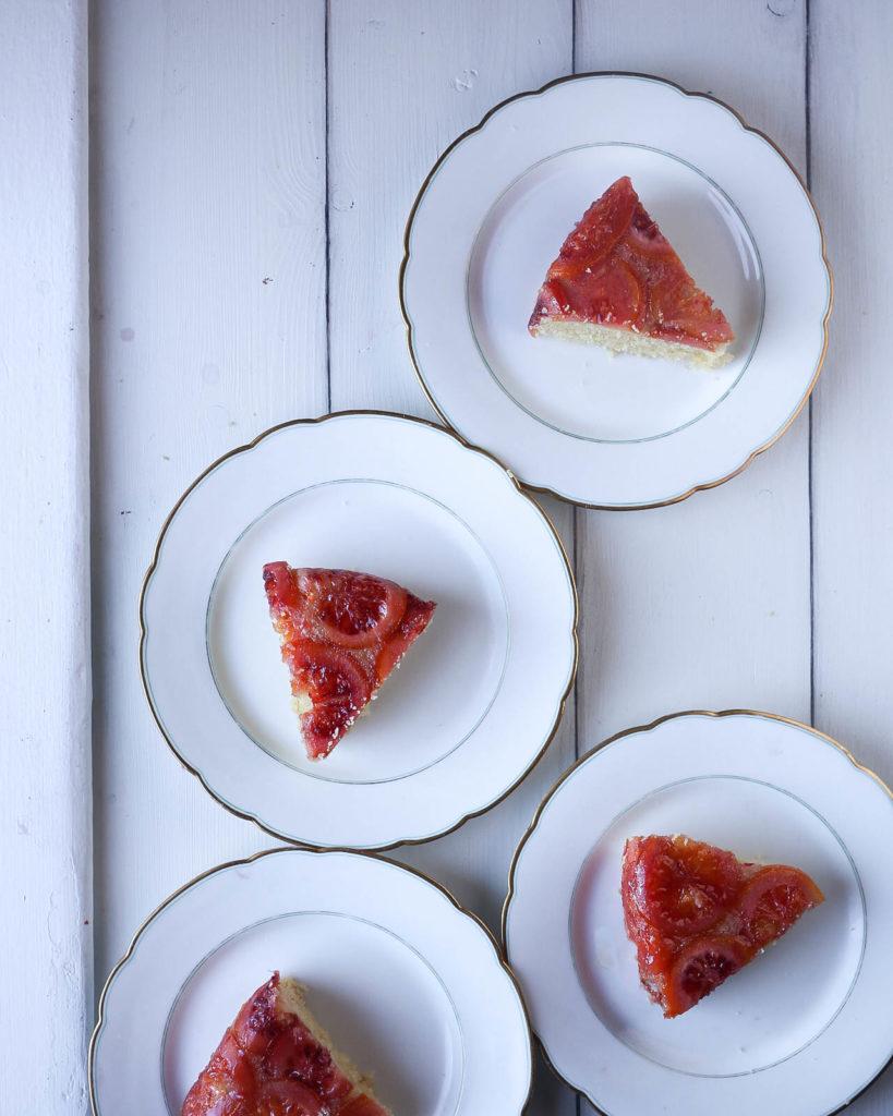 blood orange upside down cake slices
